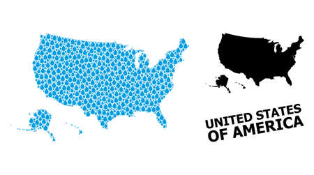 Vector mosaic and solid map of USA territories. Map of USA territories vector mosaic for drinking water ads. Map of USA territories is designed with blue clear water tears. 일러스트