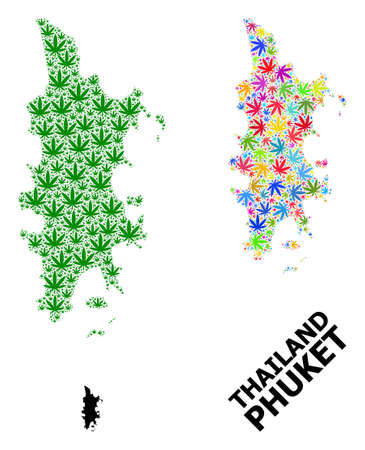 Vector marijuana mosaic and solid map of Phuket. Map of Phuket vector mosaic for marijuana legalize campaign. Map of Phuket is created with green and psychedelic cannabis leaves.