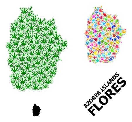 Vector marijuana mosaic and solid map of Azores - Flores Island. Map of Azores - Flores Island vector mosaic for marijuana legalize campaign.