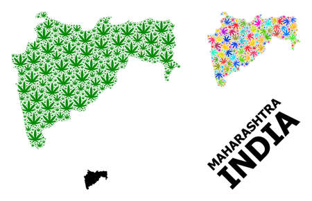 Vector hemp mosaic and solid map of Maharashtra State. Map of Maharashtra State vector mosaic for hemp legalize campaign. Map of Maharashtra State is designed with green and psychedelic hemp leaves.