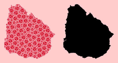 Vector pandemic virus mosaic and solid map of Uruguay. Map of Uruguay vector mosaic for medicine campaigns and proclamations. Map of Uruguay is created from red pandemic virus parts.