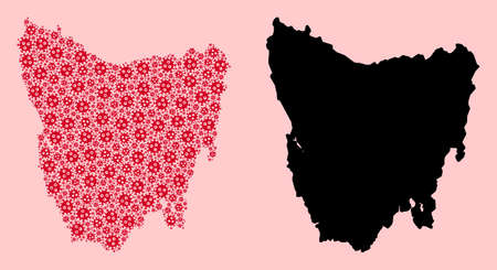 Vector sars virus mosaic and solid map of Tasmania Island. Map of Tasmania Island vector mosaic for geographic campaigns and propaganda. Map of Tasmania Island is formed with red virus items.