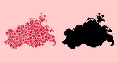 Vector Covid-2019 virus mosaic and solid map of Mecklenburg-Vorpommern State. Map of Mecklenburg-Vorpommern State vector mosaic for hospital campaigns and doctrines.