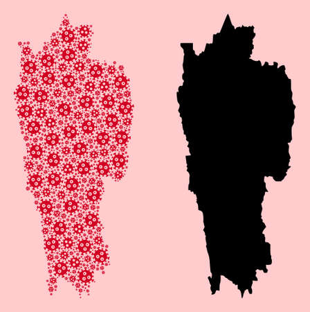 Vector sars virus mosaic and solid map of Mizoram State. Map of Mizoram State vector mosaic for doctor campaigns and doctrines. Map of Mizoram State is composed from red pandemic virus icons.