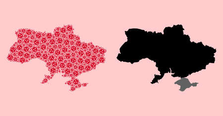 Vector outbreak mosaic and solid map of Ukraine. Map of Ukraine vector mosaic for quarantine campaigns and posters. Map of Ukraine is composed from red covid-2019 ojects.
