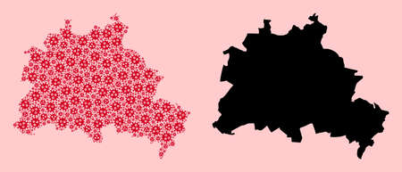 Vector sars virus mosaic and solid map of Berlin City. Map of Berlin City vector mosaic for outbreak campaigns and purposes. Map of Berlin City is created from red infection virus particles. Vectores