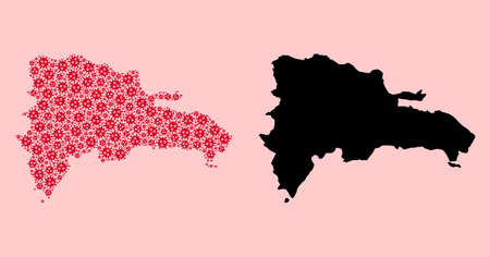 Vector covid mosaic and solid map of Dominican Republic. Map of Dominican Republic vector mosaic for outbreak campaigns and projects. Map of Dominican Republic is composed with red covid-2019 parts.