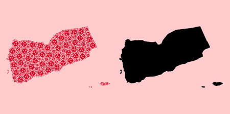 Vector pandemic virus mosaic and solid map of Yemen. Map of Yemen vector mosaic for doctor campaigns and promotion. Map of Yemen is created from red virus items. Vectores