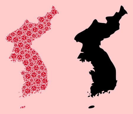 Vector pandemic virus mosaic and solid map of Korea. Map of Korea vector mosaic for health care campaigns and promotion. Map of Korea is composed with red pandemic virus items.