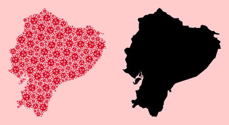 Vector Covid-2019 virus mosaic and solid map of Ecuador. Map of Ecuador vector mosaic for clinic campaigns and agitprop. Map of Ecuador is composed from red covid-2019 parts. Vectores