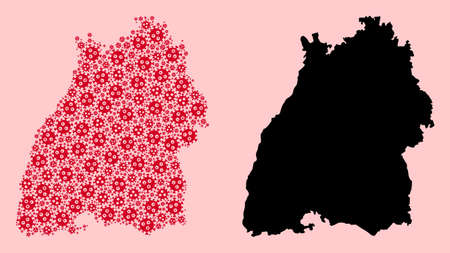 Vector flu virus mosaic and solid map of Baden-Wurttemberg State. Map of Baden-Wurttemberg State vector mosaic for medicine campaigns and posters.