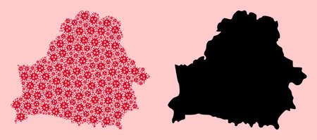 Vector virus mosaic and solid map of Belarus. Map of Belarus vector mosaic for outbreak campaigns and applications. Map of Belarus is composed with red infection virus ojects. Vectores