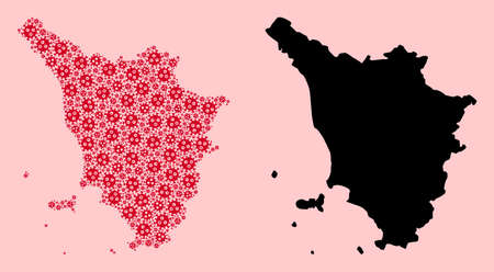Vector virus mosaic and solid map of Tuscany region. Map of Tuscany region vector mosaic for medicine campaigns and applications. Map of Tuscany region is formed from red virus parts.