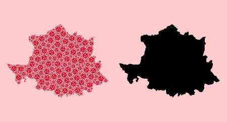 Vector covid mosaic and solid map of Caceres Province. Map of Caceres Province vector mosaic for medicine campaigns and posters. Map of Caceres Province is composed from red covid-2019 ojects.