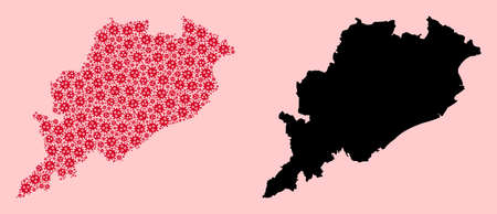 Vector viral mosaic and solid map of Odisha State. Map of Odisha State vector mosaic for geographic campaigns and proclamations. Map of Odisha State is created from red flu viral ojects.