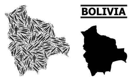 Vaccine mosaic and solid map of Bolivia. Vector map of Bolivia is shaped from vaccine doses and people figures. Illustration is useful for epidemic posters. Final solution over virus outbreak.
