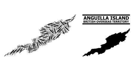 Vaccine mosaic and solid map of Anguilla Island. Vector map of Anguilla Island is designed with vaccine doses and men figures. Illustration designed for pandemic aims. Final solution over coronavirus.