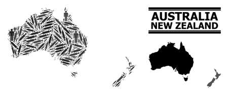Inoculation mosaic and solid map of Australia and New Zealand. Vector map of Australia and New Zealand is done from inoculation icons and men figures. Illustration is useful for outbreak purposes.
