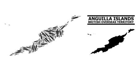 Covid-2019 Treatment mosaic and solid map of Anguilla Islands. Vector map of Anguilla Islands is created of injection needles and men figures. Collage is useful for political alerts. Çizim