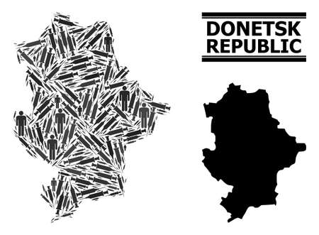 Vaccination mosaic and solid map of Donetsk Republic. Vector map of Donetsk Republic is shaped of injection needles and men figures. Collage is useful for treatment aims.