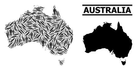 Vaccination mosaic and solid map of Australia. Vector map of Australia is created with injection needles and men figures. Abstraction is useful for health care templates.