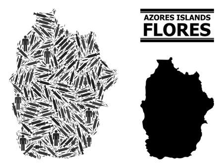 Covid-2019 Treatment mosaic and solid map of Azores - Flores Island. Vector map of Azores - Flores Island is shaped from injection needles and men figures. Illustration is useful for treatment aims.