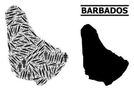Vaccine mosaic and solid map of Barbados. Vector map of Barbados is organized of vaccine symbols and human figures. Illustration is useful for outbreak aims. Final solution over virus outbreak.