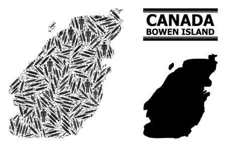 Inoculation mosaic and solid map of Bowen Island. Vector map of Bowen Island is composed with inoculation icons and men figures. Illustration is useful for isolation posters. Final win over asian flu. Çizim