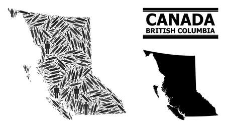 Vaccine mosaic and solid map of British Columbia Province. Vector map of British Columbia Province is organized of inoculation icons and human figures. Collage is useful for lockdown purposes.