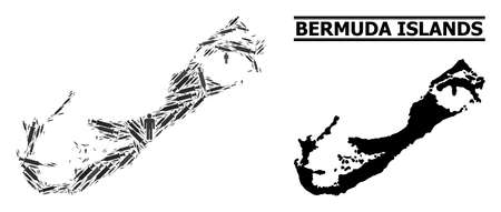 Virus therapy mosaic and solid map of Bermuda Islands. Vector map of Bermuda Islands is shaped of vaccine symbols and human figures. Collage is useful for quarantine ads.