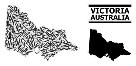 Inoculation mosaic and solid map of Australian Victoria. Vector map of Australian Victoria is designed with inoculation icons and human figures. Abstraction designed for pandemic templates. 向量圖像