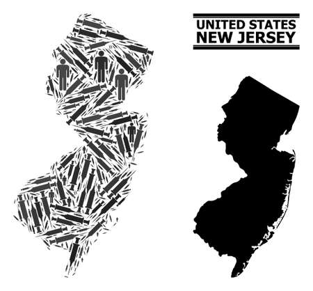 Inoculation mosaic and solid map of New Jersey State. Vector map of New Jersey State is formed of inoculation icons and people figures. Template is useful for medical aims. Final win over asian flu.