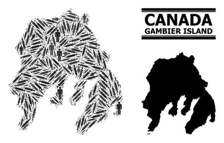 Virus therapy mosaic and solid map of Gambier Island. Vector map of Gambier Island is designed from injection needles and human figures. Illustration is useful for safety alerts. Çizim
