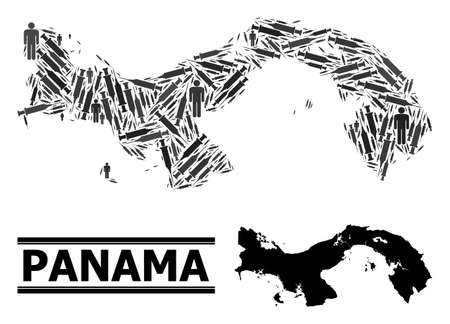 Virus therapy mosaic and solid map of Panama. Vector map of Panama is composed from vaccine symbols and human figures. Illustration is useful for treatment ads. Final win over virus outbreak.