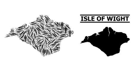 Vaccine mosaic and solid map of Isle of Wight. Vector map of Isle of Wight is done with vaccine symbols and people figures. Illustration is useful for safety posters.