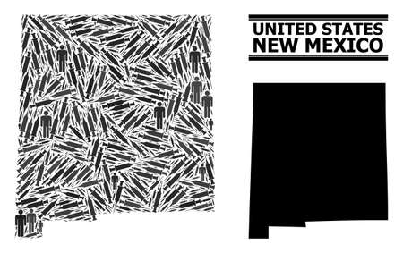 Covid-2019 Treatment mosaic and solid map of New Mexico State. Vector map of New Mexico State is designed from syringes and human figures. Illustration designed for pandemic posters.