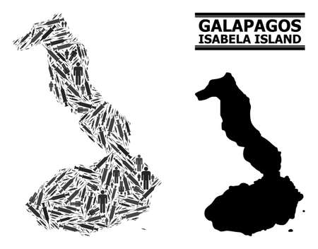 Vaccine mosaic and solid map of Galapagos - Isabela Island. Vector map of Galapagos - Isabela Island is designed with vaccine doses and men figures. Template is useful for outbreak templates.