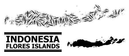Vaccine mosaic and solid map of Indonesia - Flores Islands. Vector map of Indonesia - Flores Islands is shaped with syringes and people figures. Abstraction is useful for safety aims.