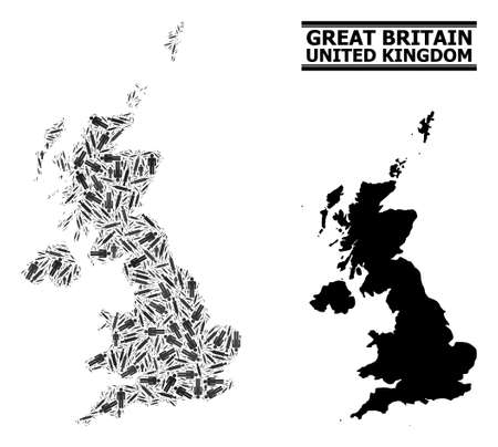 Syringe mosaic and solid map of United Kingdom. Vector map of United Kingdom is designed with vaccine symbols and people figures. Collage designed for treatment templates.