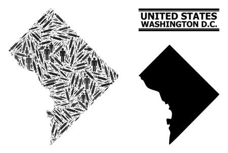 Syringe mosaic and solid map of Washington DC. Vector map of Washington DC is designed from vaccine doses and men figures. Collage designed for treatment aims. Final win over asian flu.