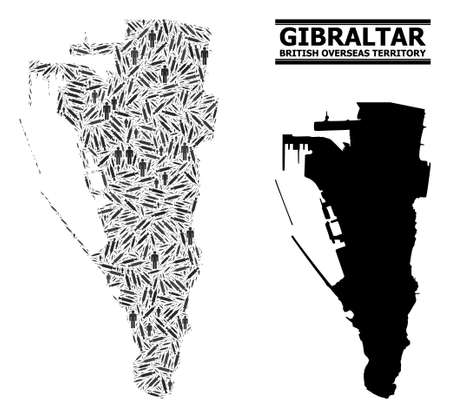 Syringe mosaic and solid map of Gibraltar. Vector map of Gibraltar is created from vaccine symbols and men figures. Collage is useful for safety posters. Final win over virus outbreak.