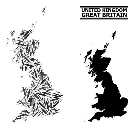Vaccine mosaic and solid map of Great Britain. Vector map of Great Britain is constructed with syringes and human figures. Abstraction is useful for outbreak posters. Final win over virus outbreak.