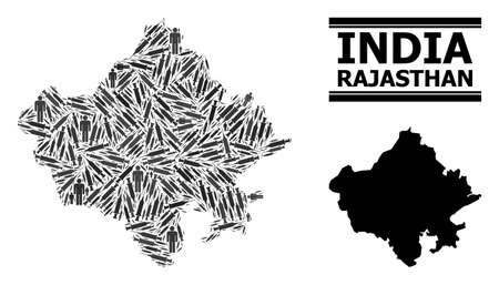 Inoculation mosaic and solid map of Rajasthan State. Vector map of Rajasthan State is created from inoculation icons and men figures. Collage is useful for medical aims.