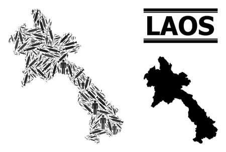 Covid-2019 Treatment mosaic and solid map of Laos. Vector map of Laos is shaped with vaccine symbols and human figures. Abstraction is useful for medical ads. Final solution over Covid-2019. Ilustração