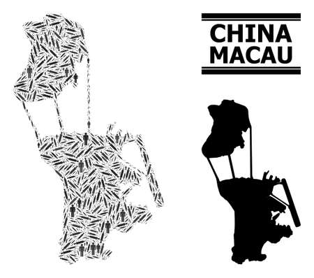 Covid-2019 Treatment mosaic and solid map of Macau. Vector map of Macau is designed from vaccine doses and people figures. Collage is useful for medicine posters. Final solution over Covid-2019.