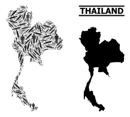 Virus therapy mosaic and solid map of Thailand. Vector map of Thailand is designed with vaccine symbols and men figures. Illustration is useful for isolation ads. Final win over virus outbreak.