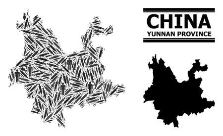 Covid-2019 Treatment mosaic and solid map of Yunnan Province. Vector map of Yunnan Province is composed from vaccine doses and men figures. Collage is useful for health care aims.