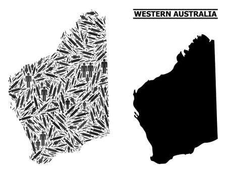 Vaccine mosaic and solid map of Western Australia. Vector map of Western Australia is constructed of vaccine doses and men figures. Abstraction is useful for political alerts.