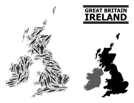 Covid-2019 Treatment mosaic and solid map of Great Britain and Ireland. Vector map of Great Britain and Ireland is created with vaccine symbols and people figures. Abstraction for treatment alerts.