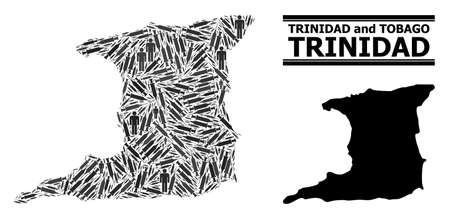 Covid-2019 Treatment mosaic and solid map of Trinidad Island. Vector map of Trinidad Island is made from syringes and people figures. Template designed for medical aims. Final win over Covid-2019.